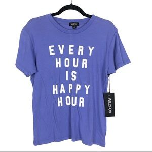 WILDFOX NWT purple happy hour T-shirt Bin L